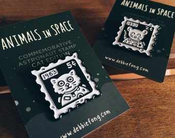 Astronaut Stamp Enamel Pin: CAT EDITION