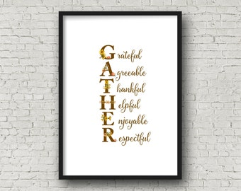 GATHER Fall Thanksgiving Floral Alphabet Printable, DIY Wall Art, Cards, Crafts, Easy to download and print.
