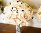 Wedding Bouquet - Vintage Collection, Large Ivory Lace Black Keepsake Alternative Bouquet, Sola Bouquet, Rustic Wedding