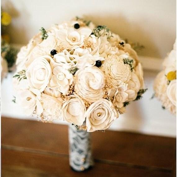 Wedding Bouquet - Vintage Collection, Large Ivory Lace Black Keepsake Alternative Bouquet, Sola Bouquet, Rustic Wedding