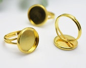 Ring Blanks -10pcs 14mm Gold Plated Brass Adjustable Cabochon Ring Base Setting LB404-5