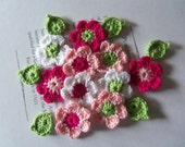 Crochet Flower and Leafs Appliques. Handmade Crochet Flowers and Leafs.