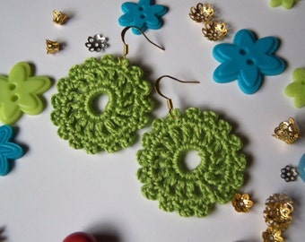 Lime Green Crochet Earrings. Handmade Earrings. Cotton and Bamboo Earrings.