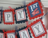 Happy Birthday Vintage Red Navy Blue & Grey Airplane Aviator Pilot Theme Banner -  Ask About Our Party Pack Sale - Free Ship Over 65.00