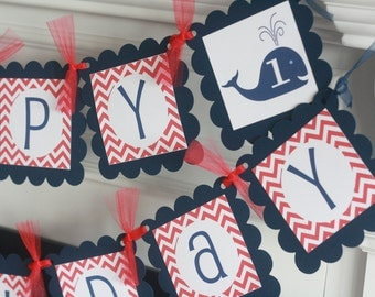 Birthday or Baby Shower Navy Blue and Red Whale Chevron Banner - Toppers, Favor Tags & Door Sign Available