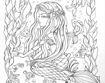 Mermaid coloring book pages for adults. Packet number 2.