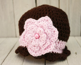 Crochet Flapper Hat in Chocolate and Pink, Newborn to 2T-4T - Made to Order