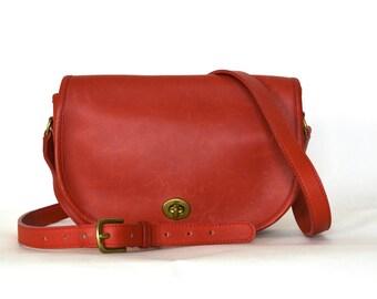 Vintage 90s Red Leather Turnlock Crossbody Bag