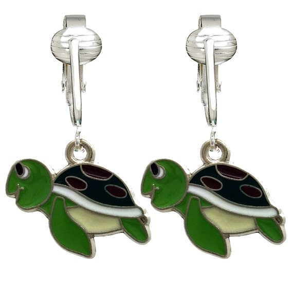 unique fun turtle clip on earrings for girls kids adults. Black Bedroom Furniture Sets. Home Design Ideas
