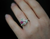 Ruby Engagement Ring - Cluster Engagement Ring - Cluster Ring Ruby & Sapphires - Sapphire Engagement Ring -  Made to Order -  FREE SHIPPING