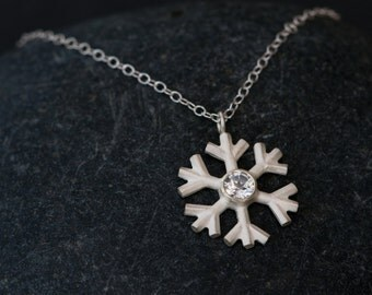 White Topaz Necklace - Snowflake Necklace - Silver Snowflake Pendant on a Fine Silver Chain - Free Shipping