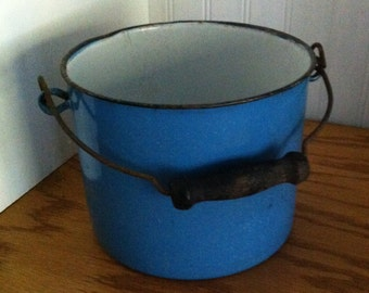 Blue enamel pail-enamel bucket- wood handle- small pail