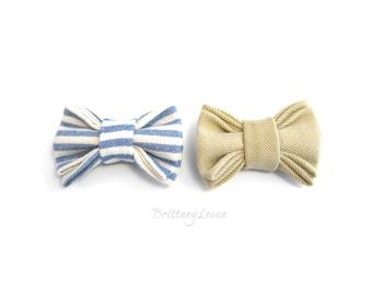 Gabby - Khaki & Blue and White Striped Mini Bow Clips Set