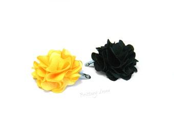 Lexi - Black & Yellow Mini Poof Flower Clips Set | Iowa Hawkeye |