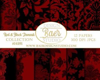 DIGITAL PAPER FLORAL: Red and Black Damask Digital Paper, Damask Digital Paper, Red and Black Digital Paper, Christmas Digital Paper #14191
