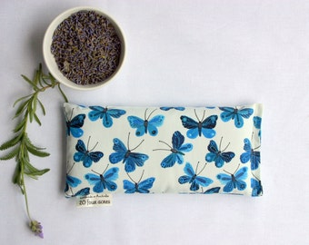 Eye Pillow, Lavender and Flax Seed Eye Pillow - Moody Blues Butterflies Scented Gift Relaxation Yoga Meditation