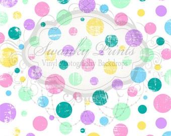 SWANKY PRINTS ORIGINAL 4ft x 4ft Easter Pastel Polka Dots / Vinyl Photography Backdrop / Spring
