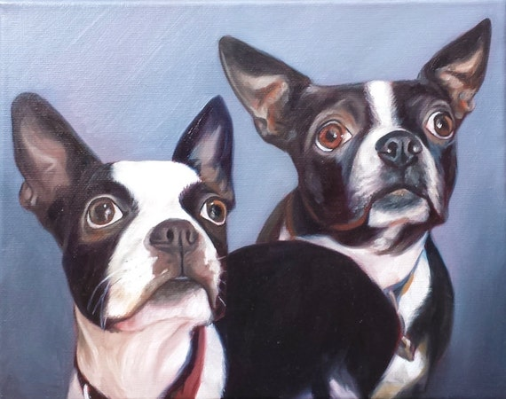 Custom PET PORTRAIT - Pet Painting - Boston Terrier - Oil Painting - 8x10