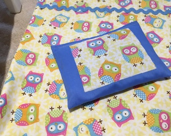 """Owl Pals with Royal Blue Rick Rack 18"""" Doll Quilt with matching pillow"""