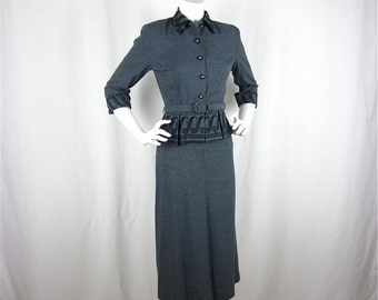 Vintage 40s Steel Gray Mini Peplum Suit, Sz S