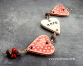 HOPE Romantic Valentines Day Red Heart Polka Dot Wall Hanging Mobile, Ceramic Wall Art, Home decor, Ultimate Lovers Gift