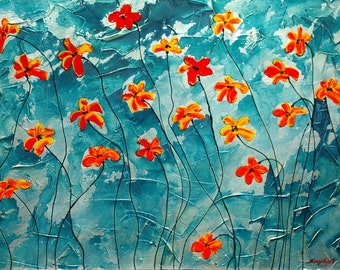 """Large Poppies Giclee Print on canvas Print of my Painting Recently Sold 24""""x36"""