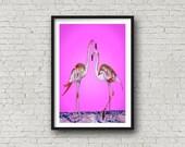 pink Flamingo - PRINT of original artwork