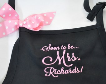 Bride Apron, Mrs. Aprons, Wedding Day Apron, Wedding Theme Apron, Hashtag Apron, Bridal Shower Gift, Priority Mail