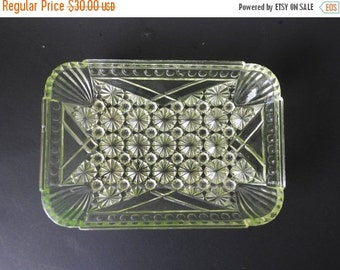 SUMMER SALE Vaseline Glass Daisy and Button Rectangle Relish Dish