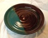 Wheel-thrown stoneware plate, handmade.  Turquoise & brown.