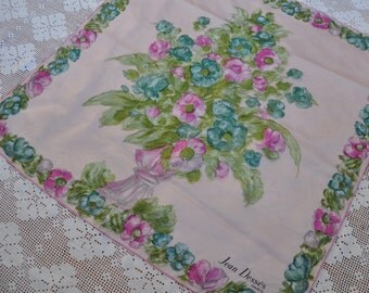 Pink Floral Bouquet Large Silk Scarf/Vintage 1960s/Renoir Style Silk Screen Scarf/Jean Desses Paris