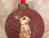 Ornament - bunny on red glitter   Hello!!