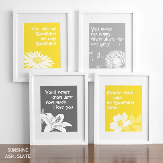You are my sunshine nursery wall art decor print set of four, yellow and grey or custom colors, baby girl nursery decor, childrens art
