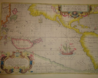ALMOST SPECIFIC PACIFIC Vintage Antique Map Print of The Pacific Ocean of an Old World Map by Cartographer Abraham  Ortelius in 1589