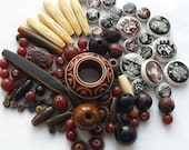 Bead Supplies Native American Style Mix Lot Pipe Round Wood Glass Cork Acrylic Brown Black White
