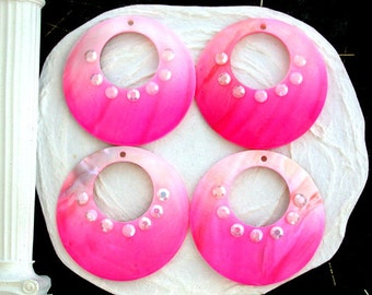 """Sale, Closeout, Destash Pendants, 4 ~ 50mm ~ 2"""" Pink Shell Rhinestone Pendants, Destash Sale Supplies  DS-667-2"""