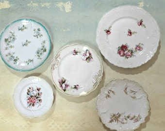 antique plate collection, china plates, instant collection, wall decor, cottage decor, shabby decor