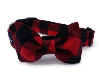 Red and Black Buffalo Plaid Flannel Dog Collar and Bow Tie  Set for Small to Large Dogs