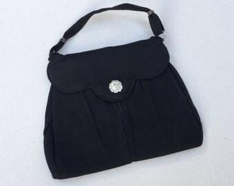 Vintage antique art deco black 1920s hand bag, purse, evening bag