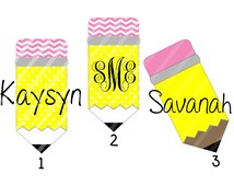 Back to School Pencil Monogram or Name Digital Download for iron-ons, heat transfer, Scrapbooking, Cards, Tags, Signs, DIY, YOU PRINT
