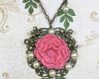 Assemblage Vintage Necklace, Vintage Assemblage Necklace, Handmade Vintage Style Pendant