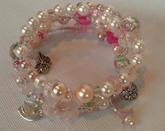 Pastel Pink Pearls and Swarovski Crystal Triple Bangle, Memory Wire Pink Bangle Bracelet,Bridal Bracelets Sale , Soft Pink Triple Bangle