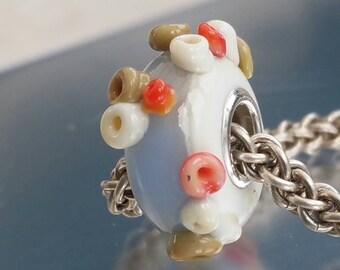 Lampwork Glass Bracelet Clearest rockpool -  big hole bead, european charm bead bracelets, bluey