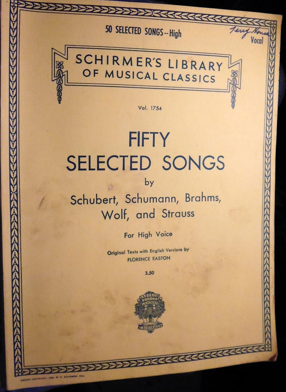 Schirmers Library Fifty Selected Songs For High Voice