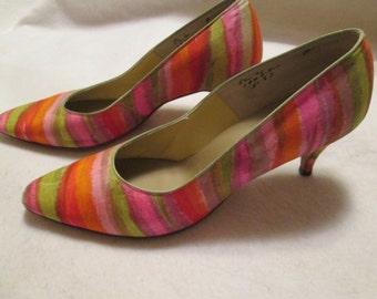 "1960's Ladies (Lime, Pink, Orange) STRIPED Fabric 2 1/2"" PUMPS"