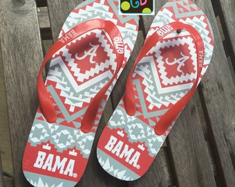 Personalized Monogram Alabama Bama Flip Flops