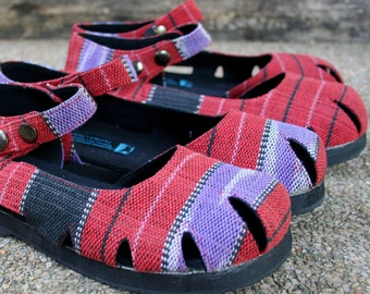 Womens Shoe Mary Jane Style In Hand Woven Ethnic Karen Textiles Vegan Espadrille Summer Shoes - Dahlia