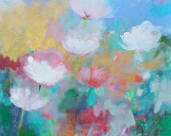 "Original Acrylic Painting, Abstract Flowers on Canvas, Pink, Blue, Light, Soft ""Peony Garden"" 20x20"""