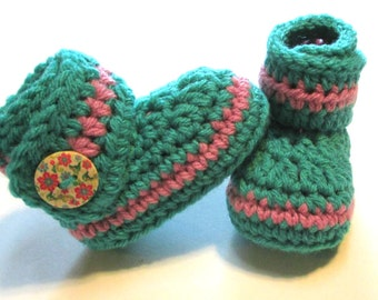 Ready to ship teal and pink crochet baby girl booties.  Ankle boots for baby shower gift.  Ready to ship baby booties.  Pink and teal.
