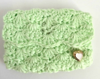 Crochet Business Card Case: Pistachio  -  Business card holder.  Planner Accessories. Gift Card Holder. Coin case. Bridesmaids Gifts